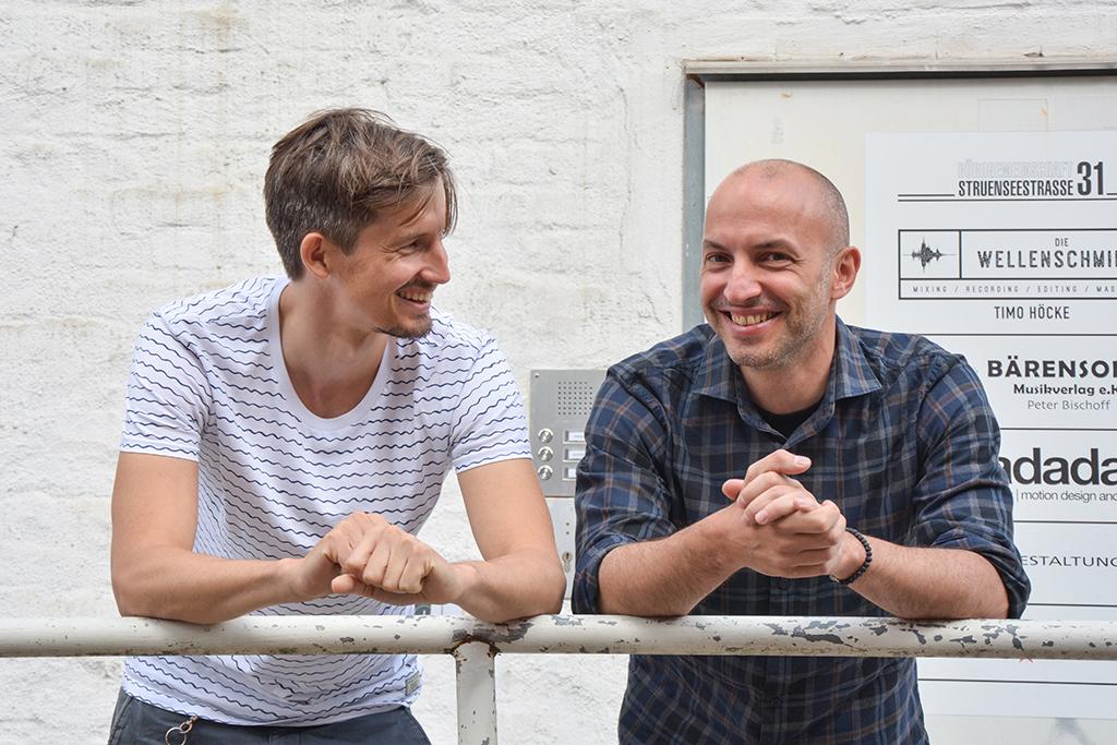 Komponieren Musik für bewegte Bilder: Gründer Max Bleß und Davide Russo von der audioBOUTIQUE